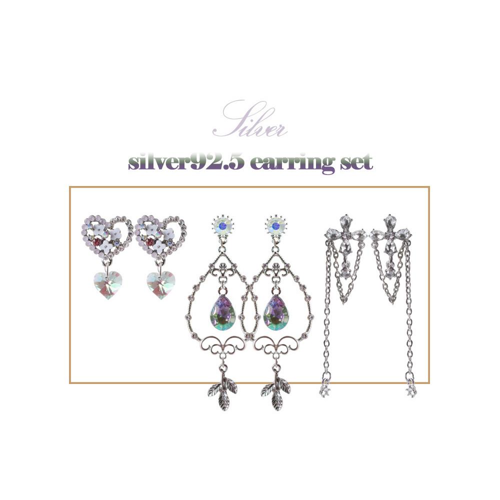 (silver925) 바이올렛 드롭귀걸이 귀찌세트 - 투틸다, 16,900원, 진주/원석, 볼귀걸이